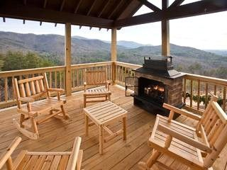 Outdoor deck with firepalce and amazing mountain view - Relax in the Beautiful North Georgia Mountains - Blue Ridge - rentals - $175 / night , hot tub. mountain views
