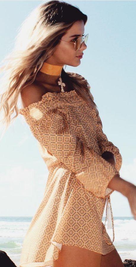 #summer #musthave #outfits  Mustard OTS Little Dress + Choker