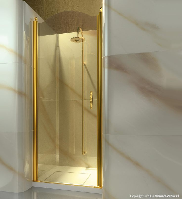 Frameless shower enclosure for recessed shower trays with a 180° pivot door. | Shower enclosures Gold by @vismaravetro | AL