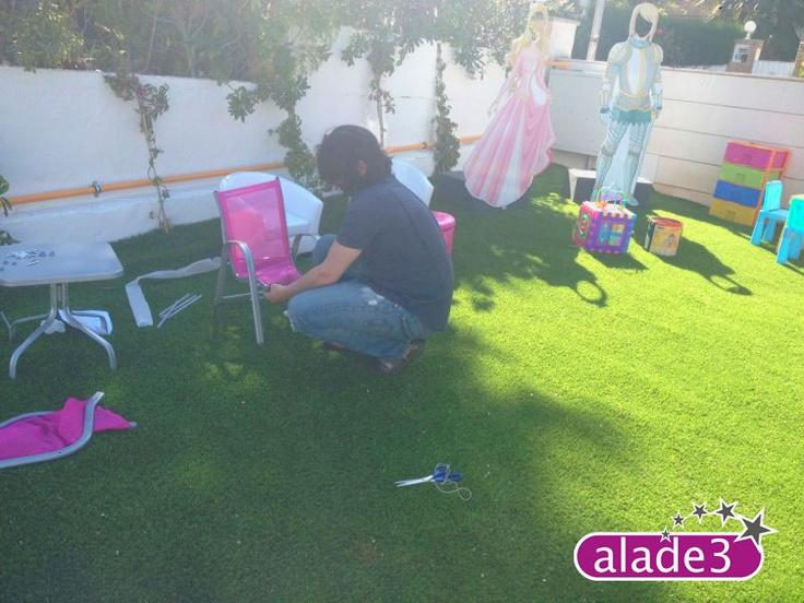 Decoración de la Fiesta de comunión Super Star que organizamos en Alade3.    Animación Infantil en www.alade3.es