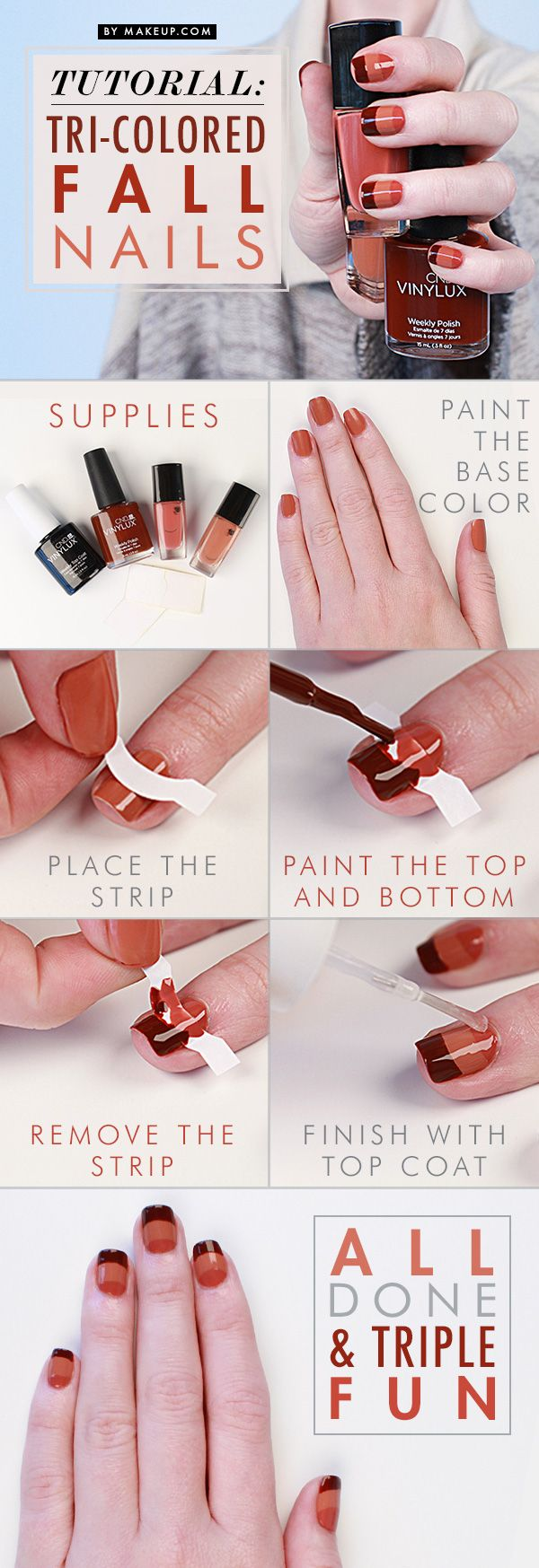 Manicure Tutorial: Tri-Colored Fall Nail Art