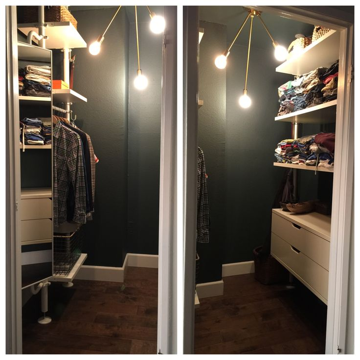 New Stolmen units in our small walk in closet.  Sexy paint and sexy light fixture!