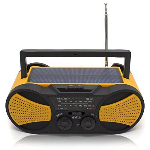 Crank Radio, NOAA Weather Radio, Audio Speaker, RunningSnail AM/FM Emergency Radio with 4000mAh Battery, 1W Flashlight, 4LED Reading Lamp,1W Solar Panel Charger, SOS Alarm(Orange)  Long playtime: Built-in Li-Ion 4000 mAh rechargeable battery guarantees up to 10-12 hours playtime. Recharge in just 7-8 hours with supplied Micro USB cable.  Superior sound quality: Enjoy a High Definition stereo sound with an impressive volume whether you're lounging around the house, or partying, walking ...