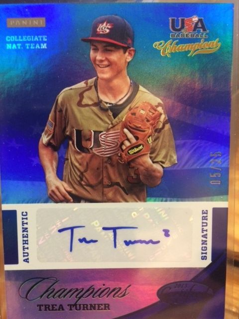 2013 PANINI USA NATIONAL TEAM CERTIFIED SIGNATURES #21 TREA TURNER AUTO # 5/ 25