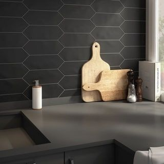 SomerTile 4x11.75-inch Cometa Black Porcelain Floor and Wall Tile (40/Case, 11.81 sqft.)   Overstock.com Shopping - The Best Deals on Floor Tiles