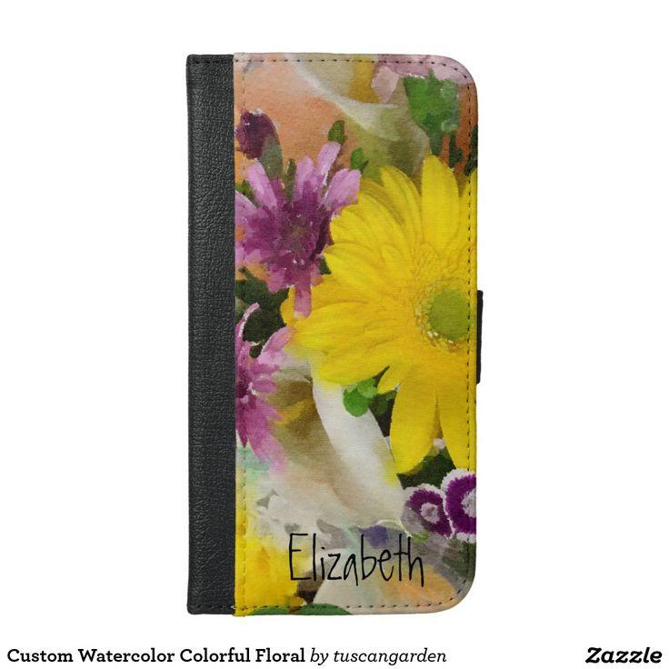 Custom Watercolor Colorful Floral iPhone 6/6s Plus Wallet Case