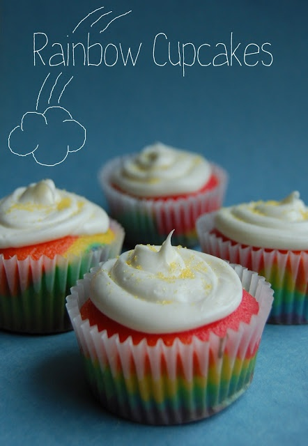 Rainbow Cupcakes- These are so cute and they look delicious and I'm off to make them right now!