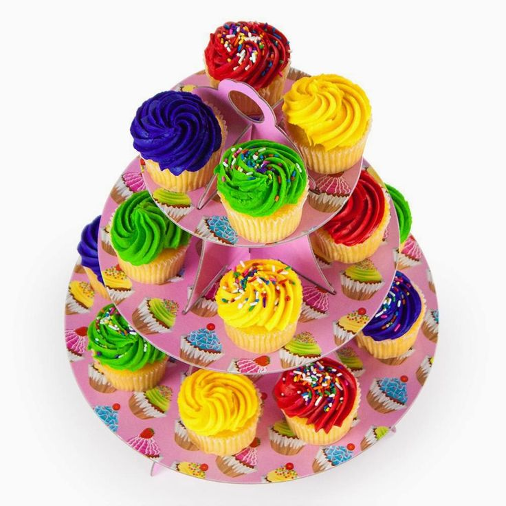 Pink 3 Tier Cupcake Stand, 14in Tall by 12in Wide