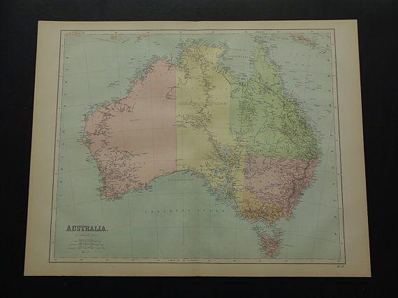 1875 AUSTRALIA old map  LARGE original antique by VintageOldMaps