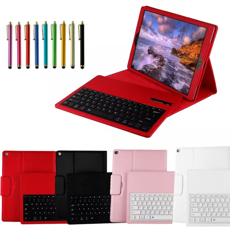 For iPad Pro 12.9'' Wireless Detachable Bluetooth Keyboard case smart cover & Stand Leather bluetooth V3.0 keyboard & Stylus pen #Affiliate