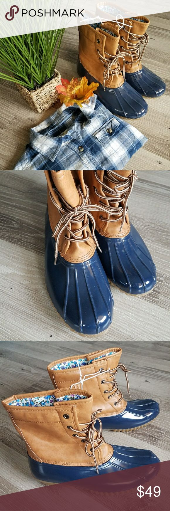 🍂Navy Duck boots! ***Price at it's lowest, no offers plz***  Beautiful duck boots for this fall season! A MUST HAVE in every wardrobe! Navy blue rubber toes with a tan leather and floral print on the inside! Brand New never worn! I have 2 sizes!!  Brand is Sugar. Make offers ladies! Shoes Winter & Rain Boots