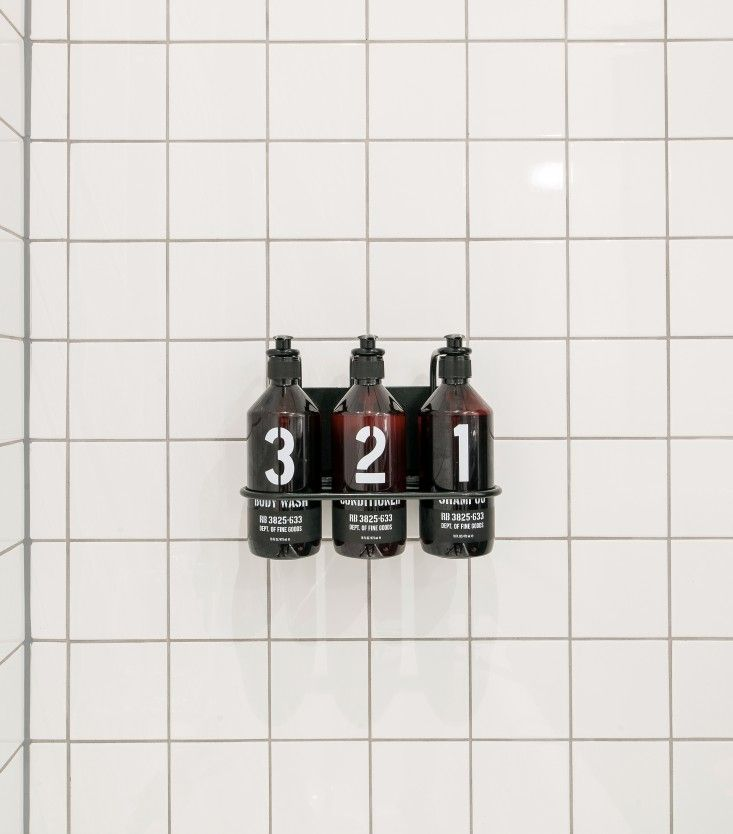 Rudys Barbershop Soap Trio/Remodelista. Shampoo, Conditioner and Body Wash caddy.