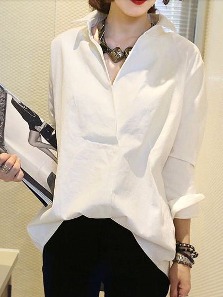 White Oversize Shirt with Wrap Placket   Choies