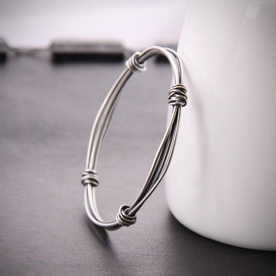 Modern silver bangle with a sleek and edgy by bluehourdesigns, $65.00                                                                                                                                                                                 More