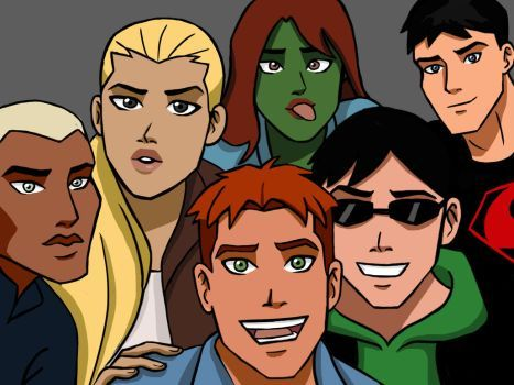 Young Justice. Kaldur'ahm (Aqualad), Artemis Crock (Artemis), M'gann M'orzz (Miss Martian), Connor Kent (Superboy), Wally West (Kid Flash) and Dick Grayson (Robin)