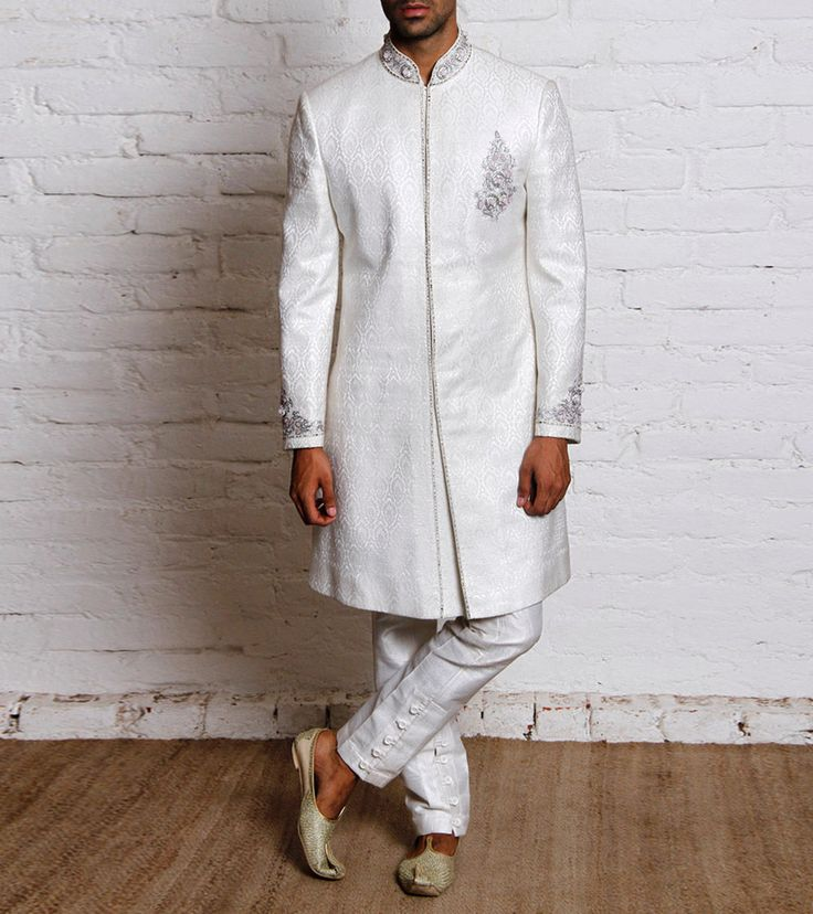 Off White Silk Blend Sherwani