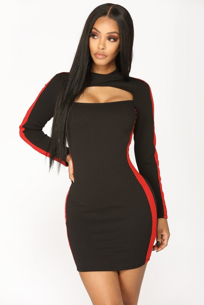 Davis Color Block Dress - Black Red in 2019  6297e933b