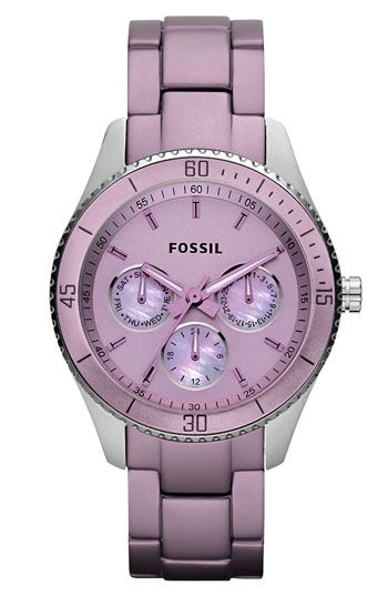 Free shipping and returns on Fossil 'Stella' Multifunction Watch at Nordstrom.com. A cool hue defines a multifunction watch with a tonal dial displaying weekday, date and 24-hour subdials. The lightweight aluminum bracelet provides a comfortable finish.