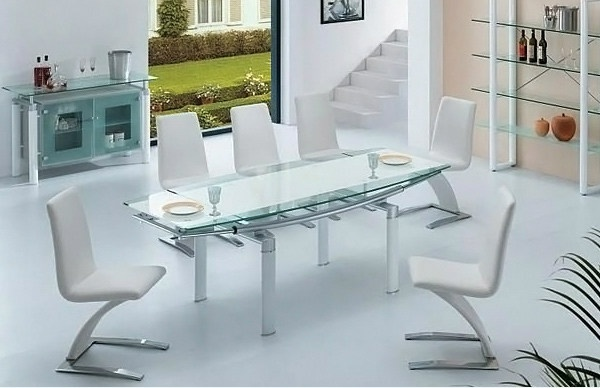 modern glass dining room set space