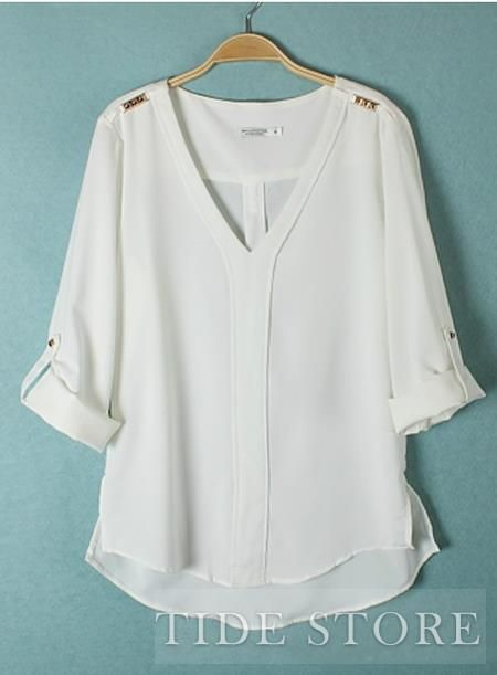 US$18.78 Lovely Euraerican Rivet Chiffon V-neckline Comfortable Blouse . #Blouses #Comfortable #Rivet #Chiffon