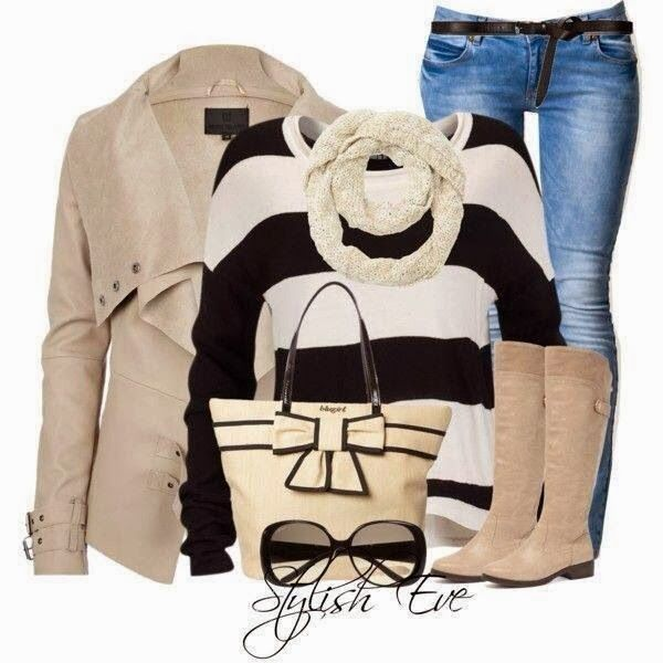 Stylish jacket, sweater, scarf, jeans and long boots combination for fall