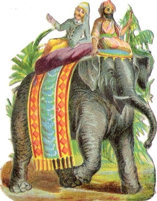 Oblaten Glanzbild scrap die cut chromo Elefant reiten elephant ride