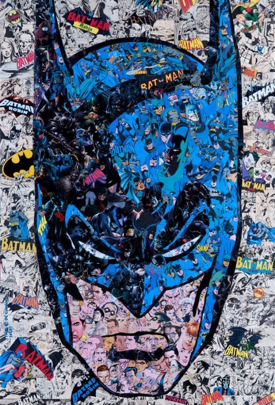 Batman Portrait Made Using Batman Comic Art Art Batman Joker A Day Ago This cool Batman print was created by artist Mr. Garcin, and he used several pieces of Batman comic book art to create the portrait of the Caped Crusader.