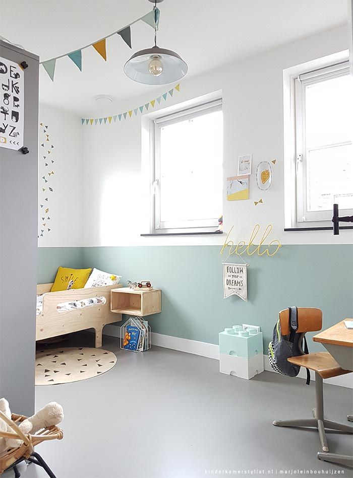 A fresh, bright and minty kids room