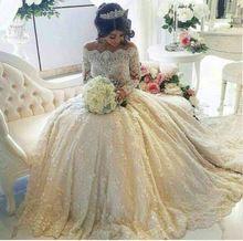 2016 muhteşem elbise gelinlik uzun kollu tekne boyun gelinlik boncuk çiçekler dantel gelinlik(China (Mainland))