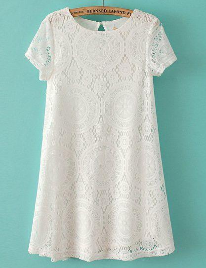 Vestido suelto encaje hueco manga corta-blanco