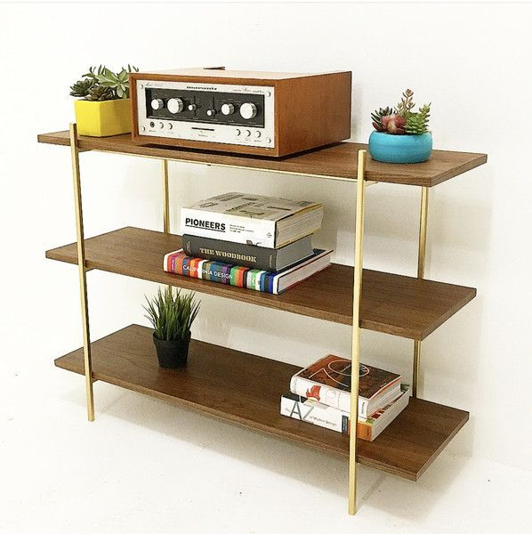 """Gorgeous mid century style walnut and gold shelf. Includes 3 shelves Dimensions: 40""""W X 13""""D X 30""""H White Glove Shipping available through out the Continental U"""