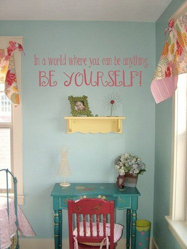 Love this little girls room!  What a wonderfUL reminder!! #beyourself  #uppercaseliving - perfect for Emmy!