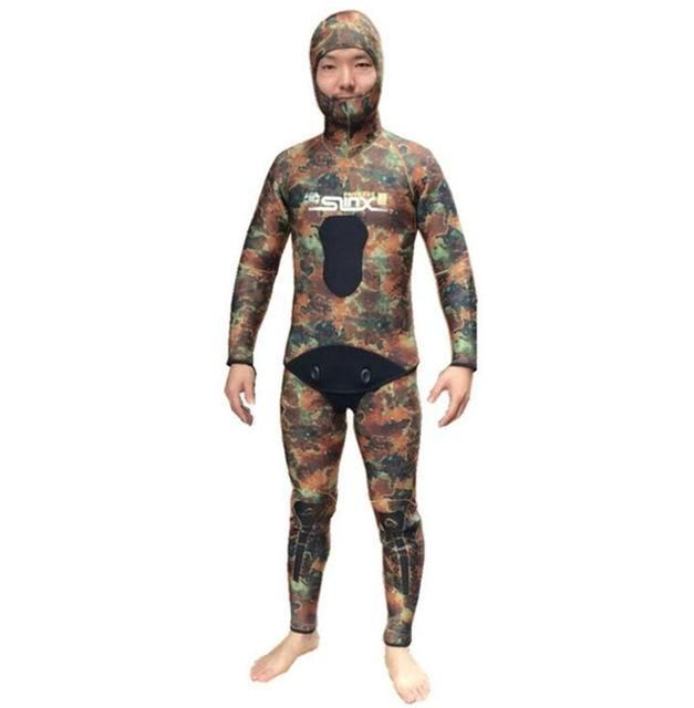 SLINX 5MM NEOPRENE MEN CAMOUFLAGE SPEARFISHING SWIMWEAR WETSUIT HOODED TWO PIECES SCUBA DIVING SUIT DIVING EQUIPMENT