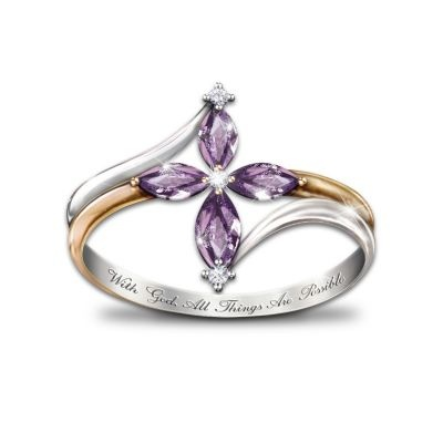 The Holy Trinity Amethyst And Diamond Womens Cross Ring