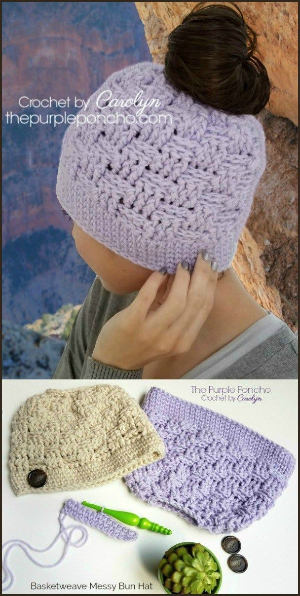 Basketweave Messy Bun Hat A Free Crochet Pattern on The Purple Poncho!  Whether you're hiking on trails through the Grand Canyon or shopping at the grocery store, this Basketweave Messy Bun Hat will keep you warm and in style no matter where you are.