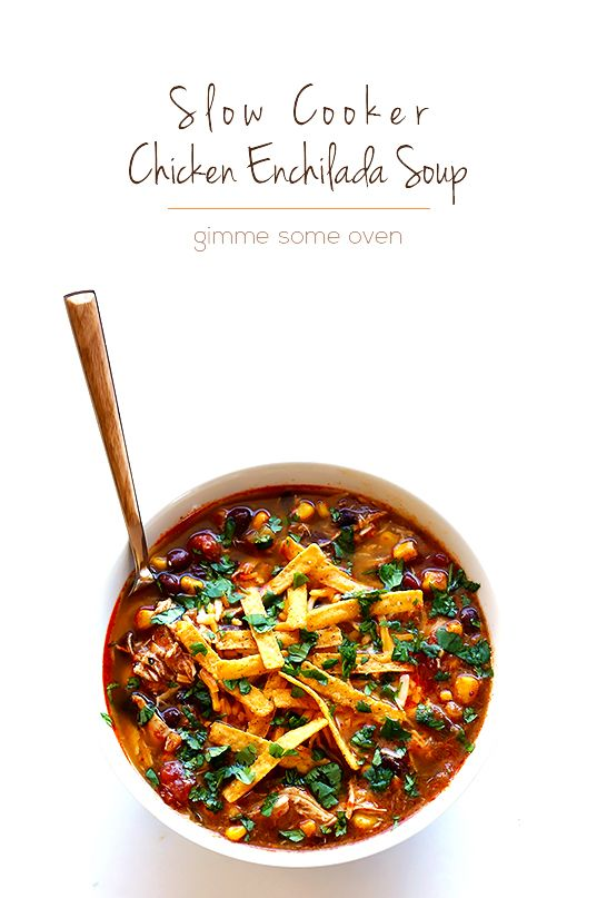 This slow cooker chicken enchilada soup recipe only takes about 10 minutes of prep time, and it is oh-so-delicious and comforting.