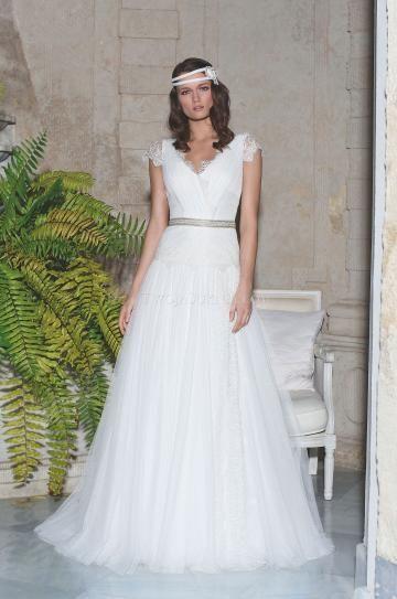 Výstřih do V Tyl Přírodní Svatební šaty 2013