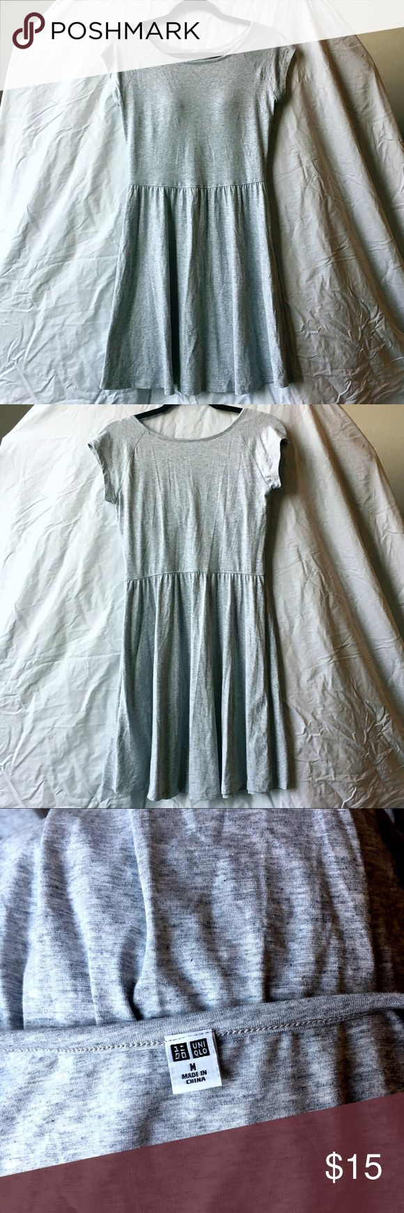 "New Gray Uniqlo Short-sleeved Dress New without tags. Short sleeved dress with built in bra in size Medium. Bust is 32"" but has a lot of stretch and it is 34"" long. It is 68% modal, 27% cotton, and 5% spandex. Uniqlo Dresses Mini"