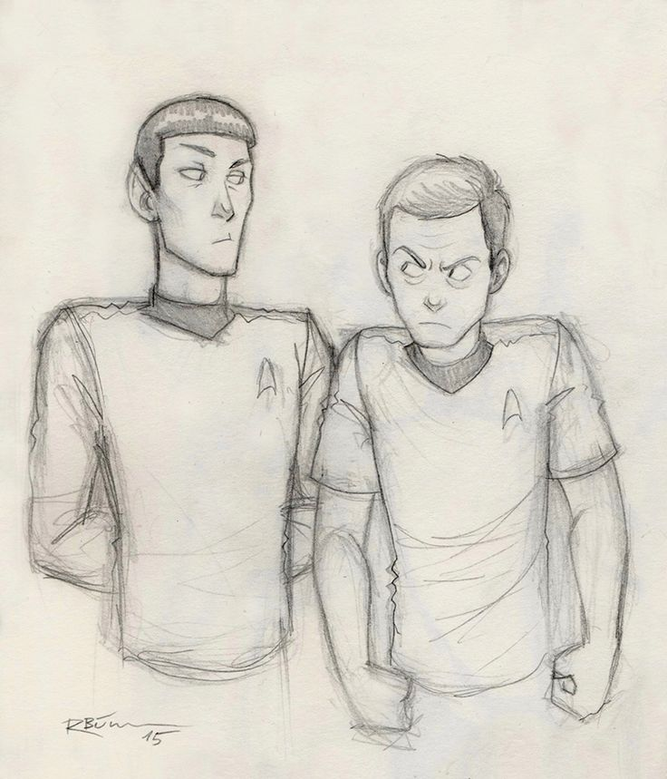 Spock and McCoy by CaptBexx.deviantart.com . Character Sketch / Drawing