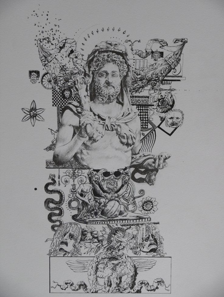 """Divine Commodus Hercules"", fine liner and grey lead on paper, A3, 2012."