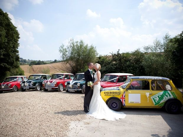 A fleet of vintage minis makes for a unique take on #wedding transport. Image © Rebecca Northway Photography.