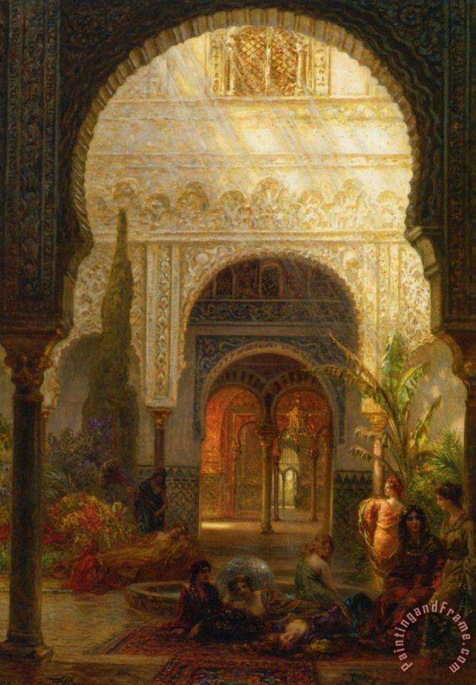 The Patio Della Reina The Alcazar Sevilla Painting By Ernst Carl Eugen  Koerner