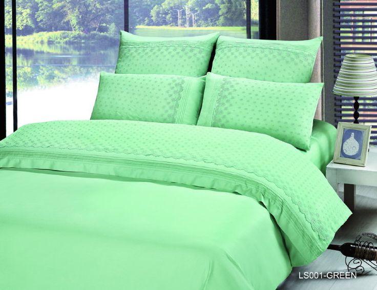 Элитное сатиновое кружевное постельное белье из люкс сатина, кружево, ls-001m. Однотонное, мятное. Отделка гипюром кружевами. Размеры, описание, характеристики, низкие цены, доставка.