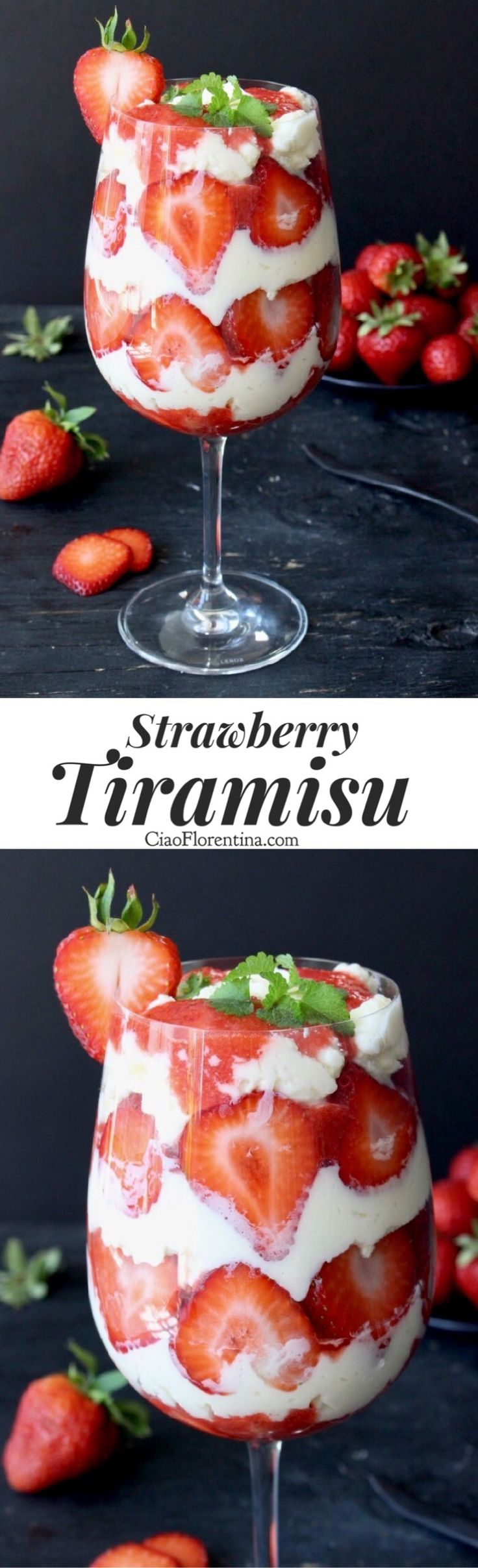 Easy Strawberry Tiramisu Dessert With Italian Mascarpone, Ladyfinger cookies and Fresh Strawberries Can be made with or without eggs, keep it kid friendly or add alcohol for a grown up treat   CiaoFlorentina.com @CiaoFlorentina