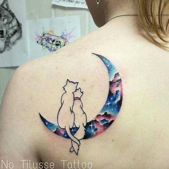 Disney galaxy tattoo moon cats romantic