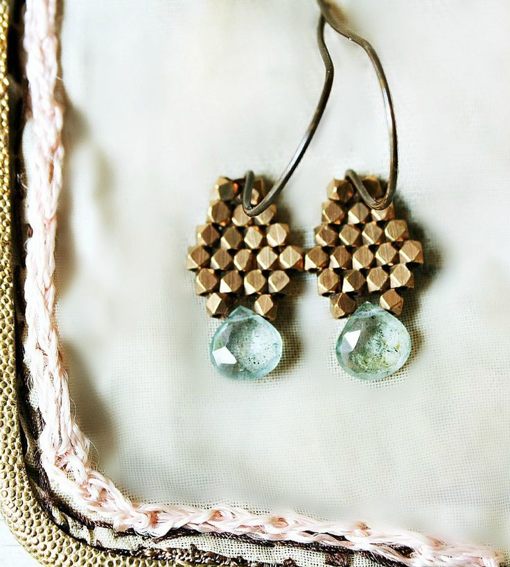 Aquamarine Brass Drop Earrings