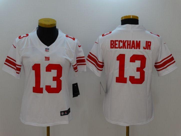 new style e7256 937f9 Women New York Giants 13 Beckham JR White Nike Vapor ...