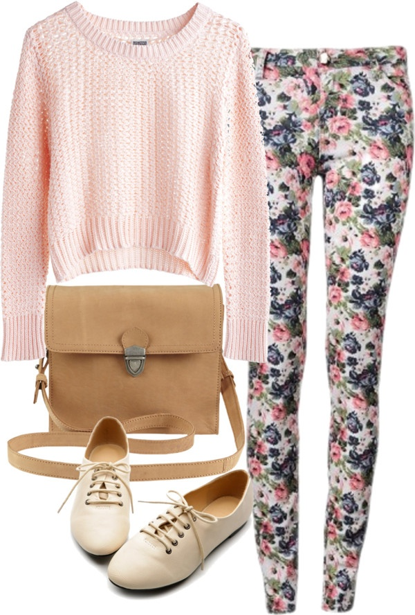 Eleanor inspired outfit with floral jeans  MTWTFSS Weekday knit top / Floral skinny jeans / Kitten heels / Vila Clothes leather shoulder bag, $80