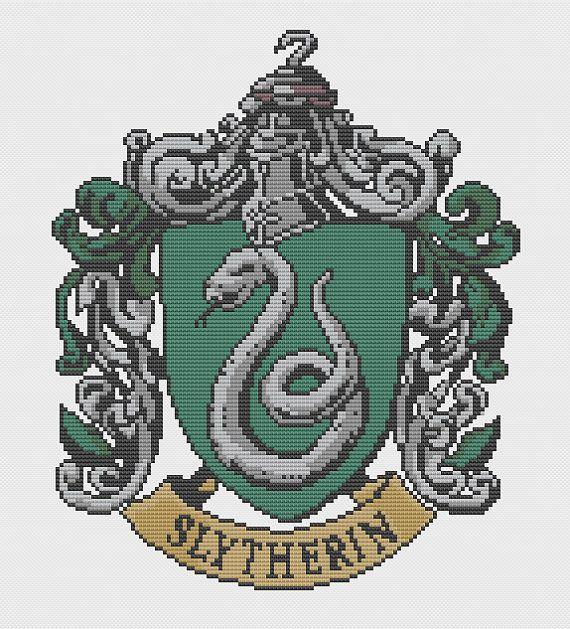 Slytherin Crest Cross Stitch Pattern by PatronusStitch on Etsy