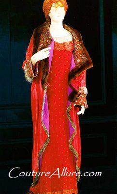 paul poiret dress 1907, paul poiret evening coat 1912